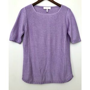 Escada Silk Cashmere Blend Short Sleeve Sweater M